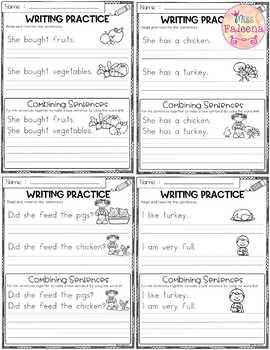 November Writing Practice (Combining Sentences)