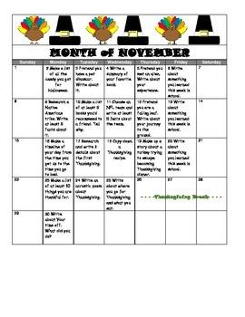 November Writing Prompt Calendar