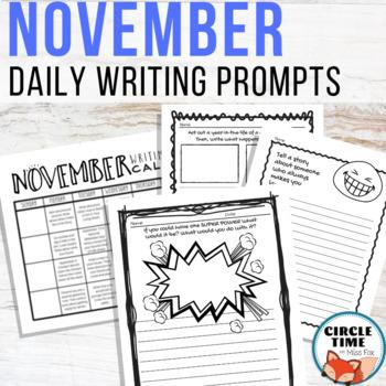 November Writing Prompts Fall/Winter NO PREP Daily Journal