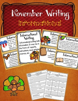 Graphic Organizers for Writing: November Writing Prompts and Posters