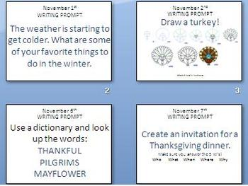 November Writing Prompts (Interactive Thanksgiving Theme)
