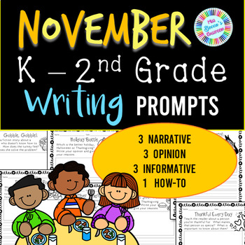 November Writing Prompts - Kindergarten, 1st grade, 2nd grade