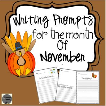 November Writing Prompts Kindergarten - 2nd Grade