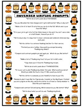 November Writing Prompts (List of 16)