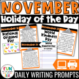 November Writing Prompts | Morning Meeting | Holiday of the Day