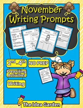 November Writing Prompts NO PREP (Second, Third, and Fourth)