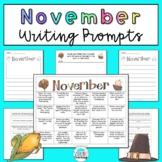 November Writing Prompts: Printable and Digital Google Slides