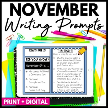 November Writing Prompts and Journal