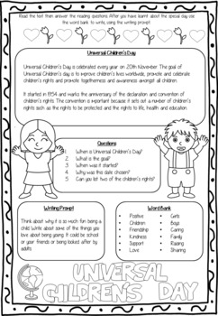 November Writing Prompts and Reading Comprehension Sheets