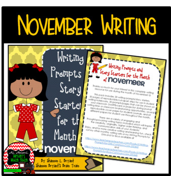 Bell Ringer November Writing Prompts and Story Starters