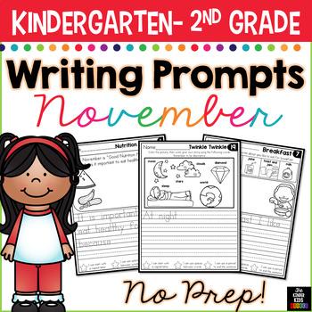 November Writing Prompts for Kindergarten to Second Grade