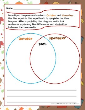 November Writing Prompts with Vocabulary Cards Great for ESL/ENL