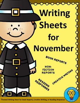 November Writing Sheets - Book Reports - Creative Writing