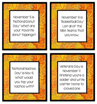 November Writing Topic Ideas {50 Cards}