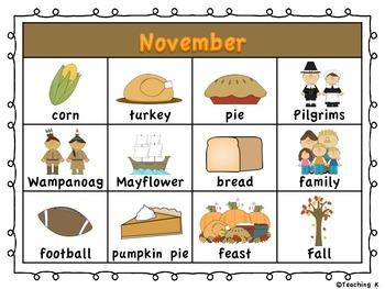 November Writing Word Chart (Thanksgiving)