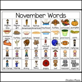 November - Writing Words