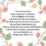 November You've Been Thanked Poem