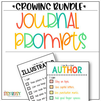 Journal Prompts - Cut and Paste *GROWING BUNDLE* K-2 **With Free Checklists!