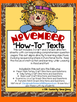 November and Thanksgiving How To Texts for Sequencing