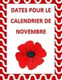 November calendar dates