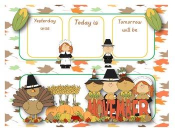 November calendar flash cards