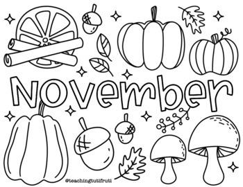 November Coloring Page Noviembre Hoja Para Colorear By Teaching Tutifruti