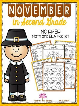 November in Second Grade (NO PREP Math and ELA Packet)