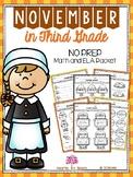 November in Third Grade (NO PREP Math and ELA Packet)