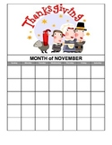 November math calendar journal
