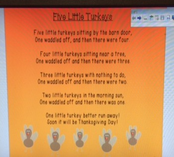 November or Thanksgiving Poem - Five Little Turkeys