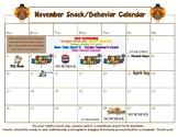 November editable snack calendar-updated for 2019!