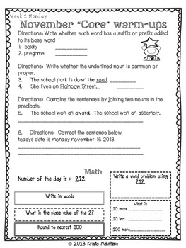 "November to the ""Core"" Morning Warm-Ups Language Arts and Math Activities"