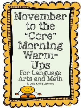 "November to the ""Core"" Morning Warm-Ups Language Arts and"