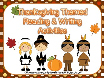 November writing prompts, graphic organizers, and phonics activities
