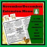 November/December Extension Choice Menu