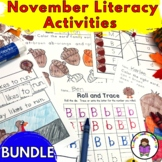 Kindergarten November Literacy Centers (Activities and Worksheets Bundle)