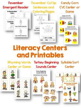 November Centers and Printables for Literacy and Math-Thanksgiving{CCSS Aligned}