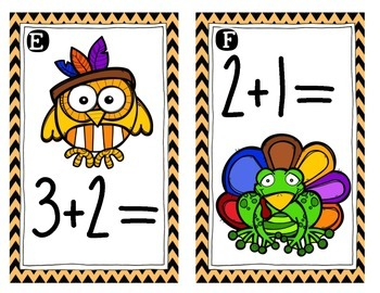 November/Thanksgiving {Math Around the Room} Addition to 10
