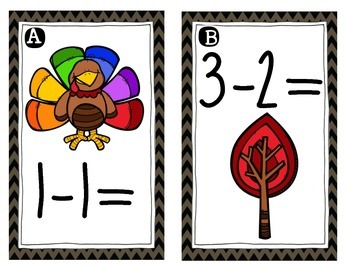 November/Thanksgiving {Math Around the Room} Subtraction to 10