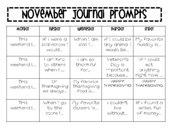 November/Thanksgiving Writing Journal Prompts