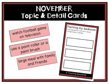November Topic and Detail Cards