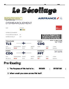 Novice French Scaffolded Reading: BOARDING PASS