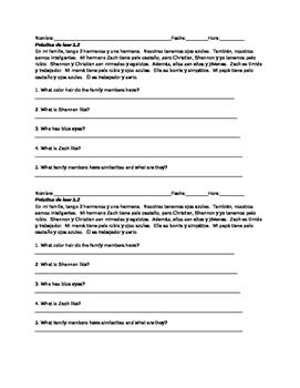 Novice Spanish Reading Practice with descriptions