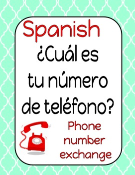 Spanish Number Activity- ¿Cuál es tu número de teléfono?