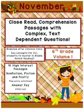 November 6th (V 1) Common Core Close Read Passages Complex