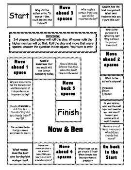 """Now & Ben"" Comprehension Game Board- Journeys story 2nd grade"