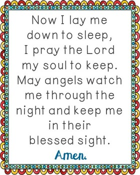 Now I Lay Me Down to Sleep Poster. Prayer, Blessings, Homeschool, Religious.
