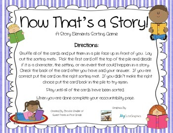 Now That's a Story - Story Elements Sorting Game