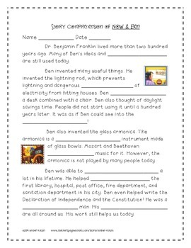 Now and Ben Supplemental Activities 2nd Grade Journeys Unit 6, Lesson 30