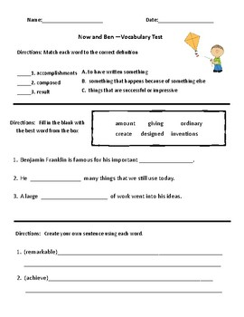 Now and Ben Vocabulary & Comprehension Test - Journeys